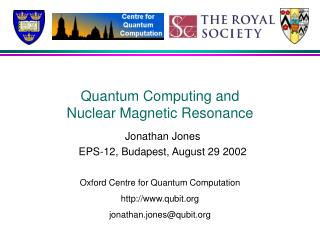 Quantum Computing and Nuclear Magnetic Resonance