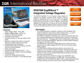 IR3870M SupIRBuck ™ Integrated Voltage Regulator