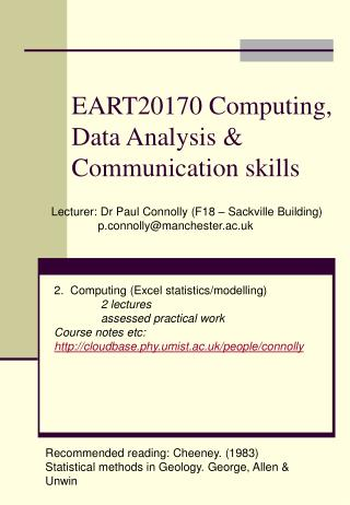EART20170 Computing, Data Analysis & Communication skills