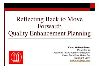 Reflecting Back to Move Forward: Quality Enhancement Planning