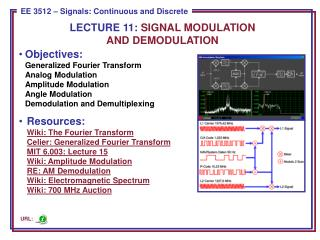 LECTURE  11:  SIGNAL MODULATION AND DEMODULATION