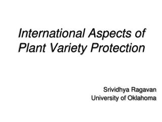 International Aspects of Plant Variety Protection
