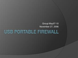 USB Portable Firewall