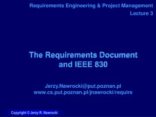 The Requirements Document and IEEE 830
