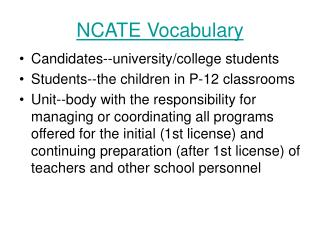 NCATE Vocabulary