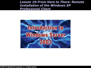 Lesson 10-From Here to There: Remote Installation of the Windows XP Professional Client