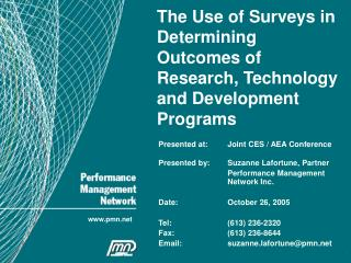 The Use of Surveys in Determining Outcomes of Research, Technology and Development Programs