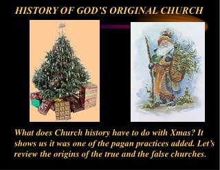 HISTORY OF GOD'S ORIGINAL CHURCH
