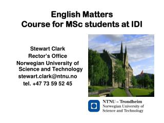 English Matters  Course for MSc students at IDI