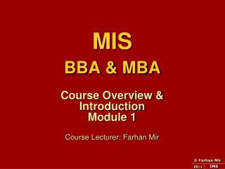 MIS  BBA & MBA