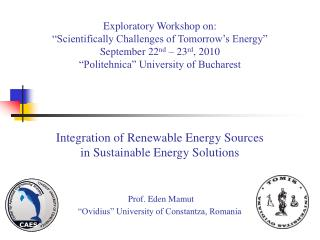 Integration of Renewable Energy Sources in Sustainable Energy Solutions