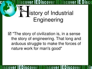 istory of Industrial Engineering