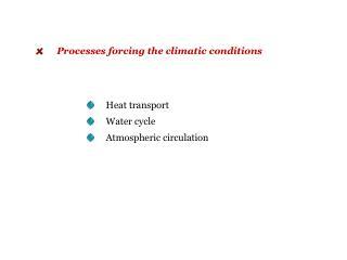 Heat transport Water cycle Atmospheric circulation