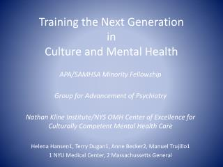 Training the Next Generation in Culture and Mental Health