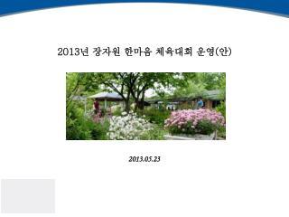 2013 년 장자원 한마음 체육대회 운영 ( 안 )