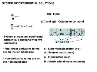 SYSTEM OF DIFFERENTIAL EQUATIONS: