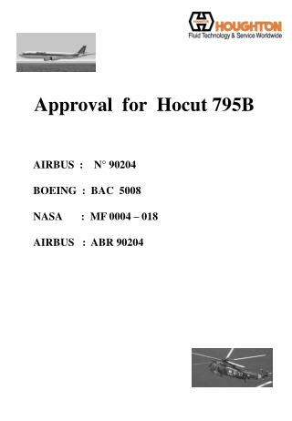 Approval  for  Hocut 795B