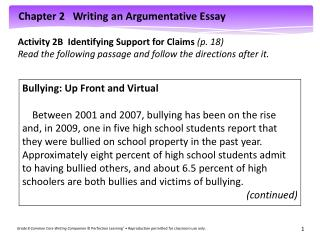 Activity 2B  Identifying Support for Claims  (p. 18)