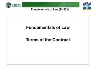 Fundamentals of Law Terms of the Contract