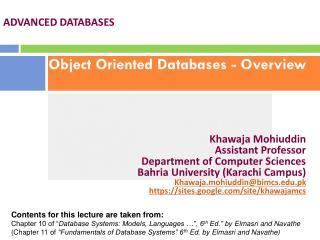 Object Oriented Databases - Overview