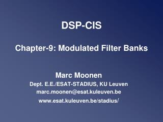 DSP-CIS Chapter-9: Modulated Filter Banks