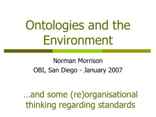 Ontologies and the Environment