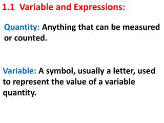 1.1  Variable and Expressions: