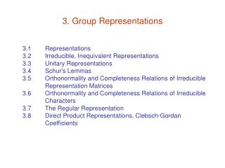 3. Group Representations