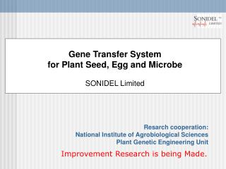 Gene Transfer System  for Plant Seed, Egg and Microbe SONIDEL Limited