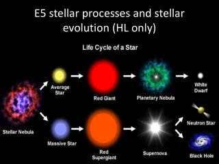 E5 stellar processes and stellar evolution (HL only)