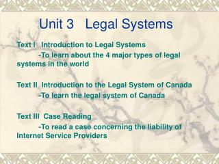 Unit 3   Legal Systems