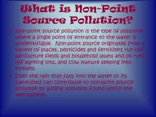 What is Non-Point Source Pollution?