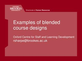 Examples of blended course designs