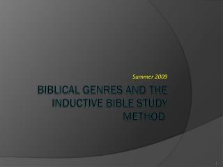Biblical Genres and the Inductive Bible Study Method