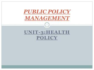PUBLIC POLICY MANAGEMENT