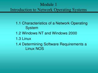Module 1 Introduction to Network Operating Systems