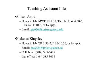 Teaching Assistant Info