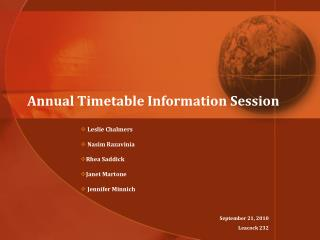 Annual Timetable Information Session
