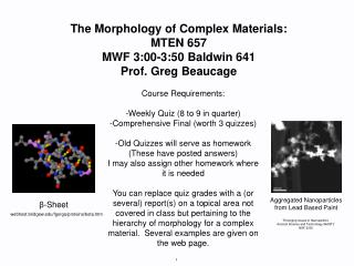 The Morphology of Complex Materials: MTEN 657 MWF 3:00-3:50 Baldwin 641 Prof. Greg Beaucage