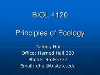 BIOL 4120 Principles of Ecology