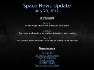Space News Update - July 20, 2012 -