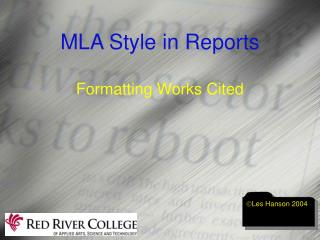 MLA Style in Reports