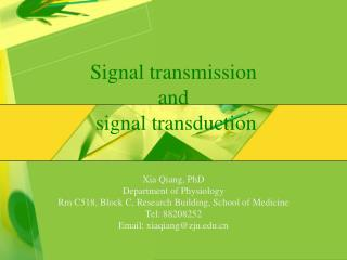 Signal transmission  and  signal transduction