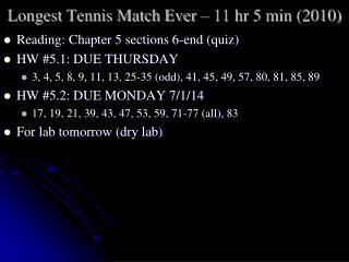 Longest Tennis Match  Ever – 11  hr  5 min  (2010)