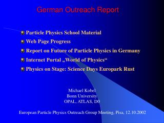 German Outreach Report