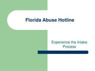 Florida Abuse Hotline
