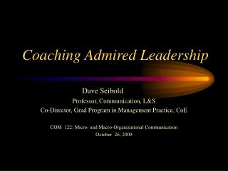 Coaching Admired Leadership
