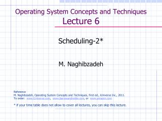 Operating System Concepts and Techniques  Lecture 6