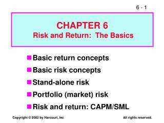 CHAPTER 6  Risk and Return:  The Basics