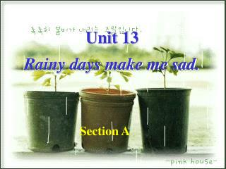Unit 13  Rainy days make me sad.